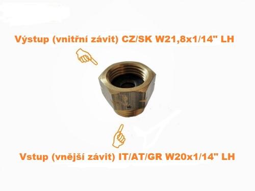 Adaptér (redukce) z IT na CZ plynovou lahev