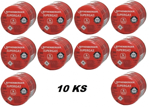 Butanová kartuše Supergas C200, 190g, sada 10ks